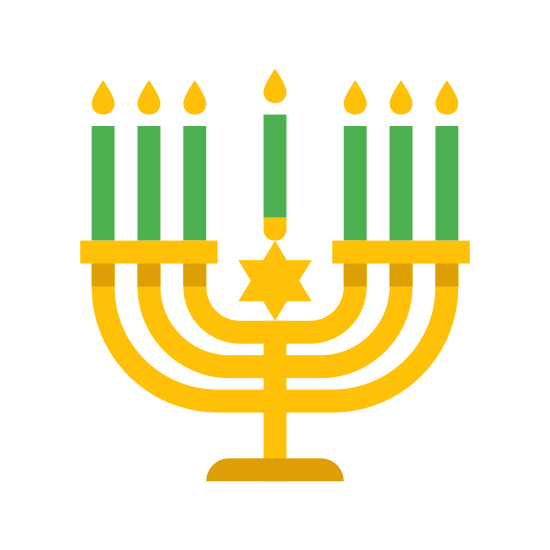 Candelabro Judeu icon. It is a icon of a menorah. It has a semicircle at the bottom for a stand with a vertical line coming out. There are three curved lines that point upwards and each have a small flame on each of their ends.