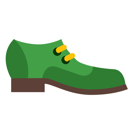Footwear icon. This is a image of a dress shoe. The shoe has no outer features indicating laces or buckles, it is void of any features. Beneath the shoe is a small rectangular heel.