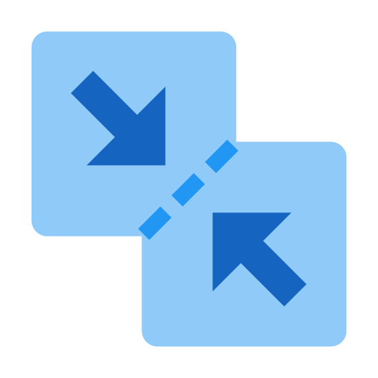 Merge Files icon. The logo displays two squares joined at a corners. The top square has an arrow pointing down and skewed to the right, pointing at the bottom square. The bottom square has an arrow pointing up and skewed to the left, pointing at the top square. The points in which they're joined have a dashed line, indicating they are merging together.