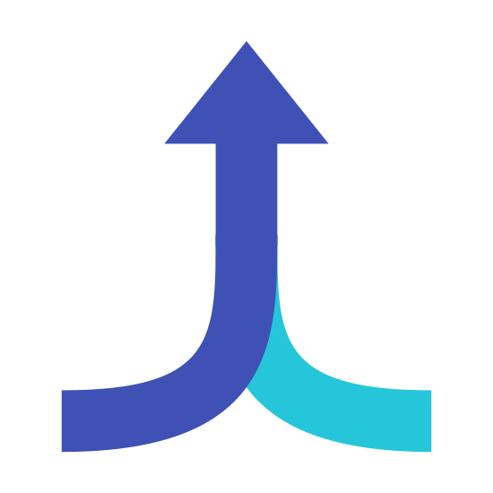 Merge icon. Is a logo of an arrow. However the arrow is not straight and a curse to the right at the bottom. There is a seperate line that curves to the left on the other side of the arrow.
