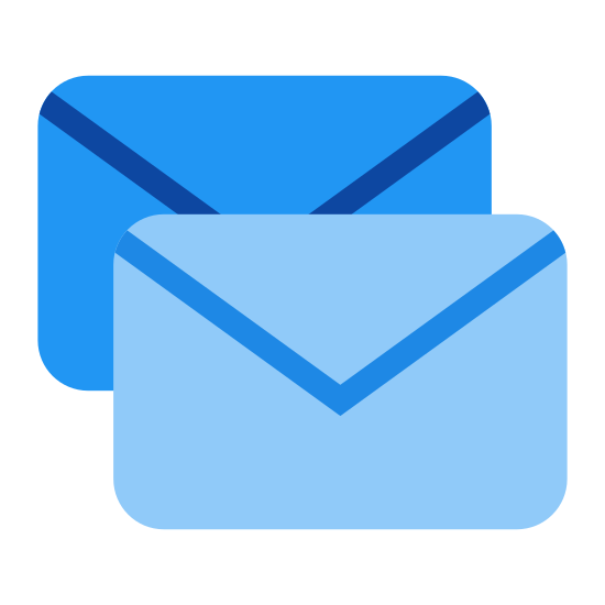 Group Message icon. The icon is a picture of group message. The icon is the shape of two rectangles. The rectangle in front of the other one looks like an envelope. The envelope looking rectangle is slightly lower and to the right of the rectangle behind it.