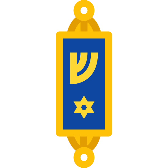 Mezuza icon. It is an icon that looks a little like a top with a Hebrew symbol on it. It is typically symbolizing a piece of parchment inscribed with verses from the Jewish holy text the Torah, most typically the Jewish Shema Yisrael prayer.
