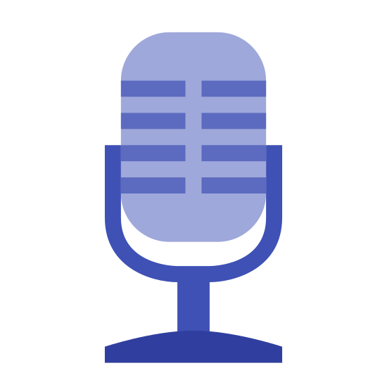 Microphone icon. The microphone is a circular object with a base at the bottom that holds it in place. It allows you to talk into it and it provides sound to hear.