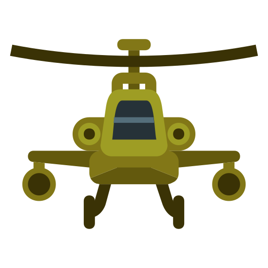 Apache Helicopter icon. This icon represents a military helicopter. It is a cone shaped object with two wings coming out each side and two landing legs on the bottom. It has a line across the top joining the cone representing a propeller. It has two circles on each side of the cone.