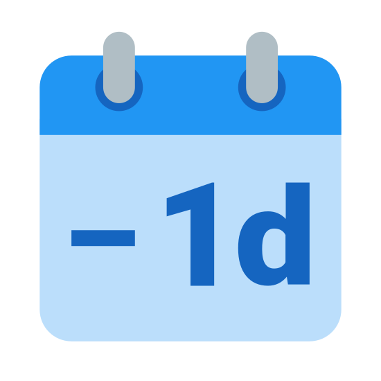 "Minus 1 Day icon. It's what looks like a small, desktop calendar, with two rings on the top to change the date. It has ""- 1d"" meaning to subtract one day, written on the front of the calendar, to be an icon representing the subtraction of a day for other calendar purposes."