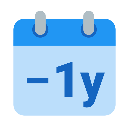 Minus 1 Year icon. A page from a calendar with two tabs on the top edge. The page contains a minus sign, followed the number 1 and then by the lowercase letter y..