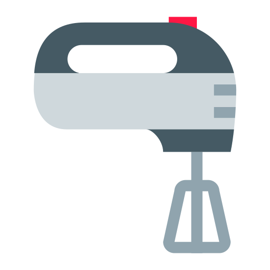 Миксер icon. This is a picture of a hand mixer from the side. You can see one of the mixing arms and it has two small sides to it. There is a small button at the very top of the mixer. You can see a handle through the side of it.
