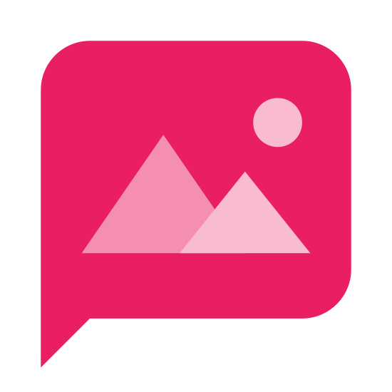 MMS icon. It is a speech bubble square with rounded corners. Inside of it are 2 triangular mountains (one slightly larger and in the foreground) and a circular sun, somewhat like a stereotypical landscape photo.