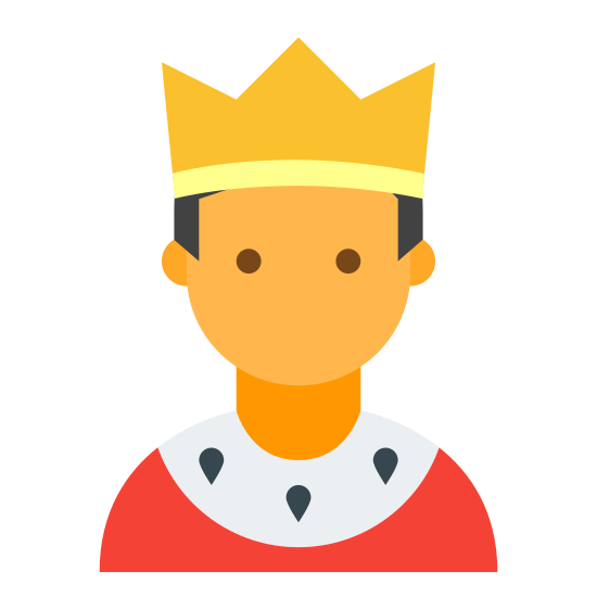 Moderador masculino icon. The icon consists of the portrait outline of a male humanoid with diminished facial features. The portrait is wearing a three-pointed crown. The icon represents a male user who possesses moderator authentication, allowing them to moderate chat or groups.