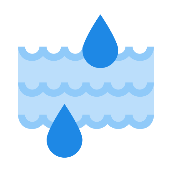 Moisture icon. The icon is a series of three peaked waves, arranged to be parallel to each other, with two large water drops on top of the top and bottom peaked waves. Each wave has four peaks. The icon is representative of liquid moisture being present.