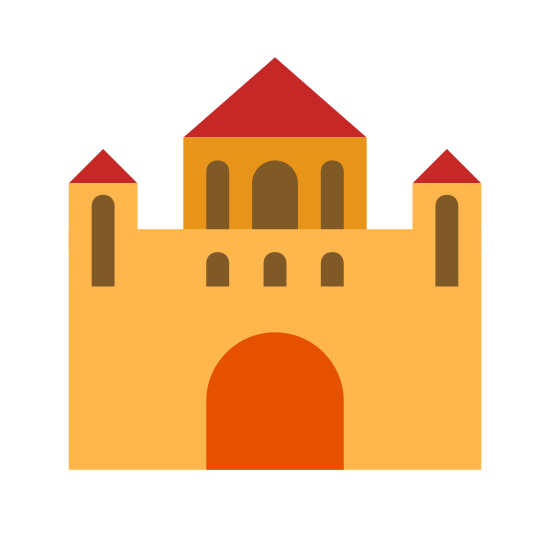 Monastery icon. The icon is the shape of a castle. The shape has to small tower shapes on both the left and the right and a bigger tower in the middle that is elevated a bit higher. It also has a half oval shaped doorway in front.