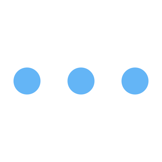 """More icon. This icon shows the small circles in a row next to each other. The circles are drawn in black and white and have all the same size. The also arepositioned in the same distance from each other. The circles are pretty close to each other and the meaning of this symbol is ''more"""""""