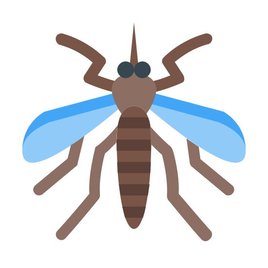Mosquito icon. An mosquito with three main body parts and three legs on each side of the body. It has two wings and it also has a sucker coming out of the head like a needle.