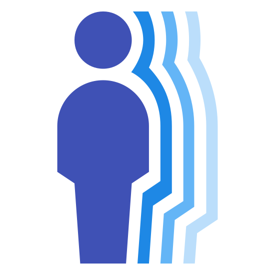 Motion Detector icon. It's an image depicting a Motion Detector. The image shows a man and shadows of the man next to a small motion detection device.