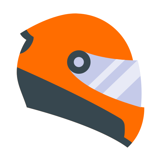 Kask motocyklowy icon. It is the outline of a helmet as seen from the right side, in profile. A circle and a dot in the center represent where the visor meets the helmet, and there is an outline representing the visor as well.