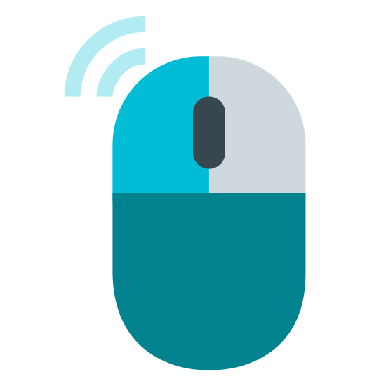 Left Click icon. It's a computer mouse. The clicker on the left side of the mouse has been shaded with dots, and extending from the direction of the left clicker are two waves. The waves get bigger the further they go outward.