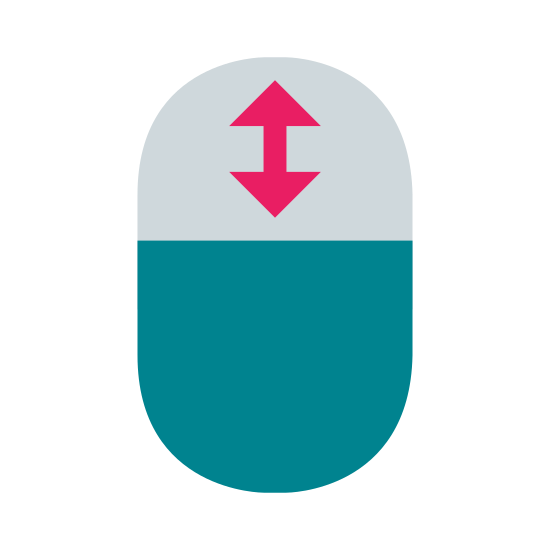 Mouse Scrolling icon. This is a picture of an oval with a line splitting it in half horizontally. On the upper side of it is a double sided arrow pointing up and down. The bottom part is blank.