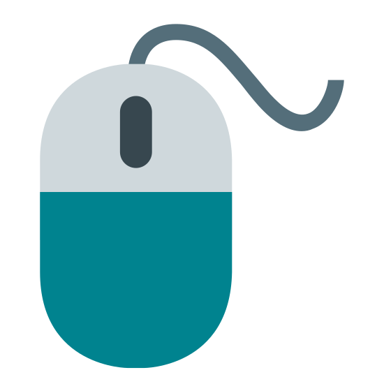 Mouse icon. This icon is a computer mouse that is oval in shape and would fit snugly in someone's hand. It is separated into 3 sections, a top half that is separated into a left and right button and a large bottom portion.