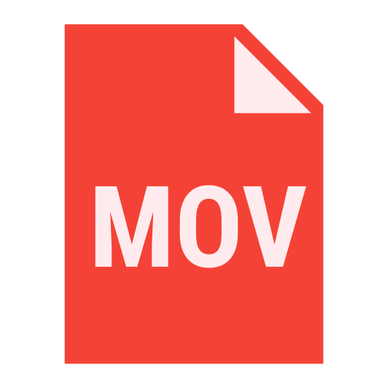 MOV icon. It is a logo of a computer file named with three letters MOV. 