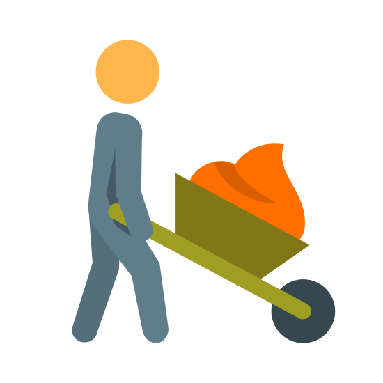 Scheiße umhertragen icon. This image is a generic outline of a genderless human being  holding a wheel barrel with two hands and pushing it forward.  Inside of the wheelbarrel there is a  large amount of something that looks like soft serve ice cream or something with a soft consistency.