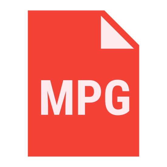 """MPG icon. It's the capital letters 'MPG"""" drawn inside of a rectangle.  The rectangle is drawn to look like a sheet of paper with the upper right corner creased and folded down to the front.  The letters are centered from left to right and closer to the bottom than the top."""