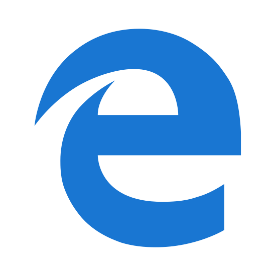 MS Edge icon. It's a logo of MS Edge reduced to a giant cursive letter E. The letter E has a two tails on the top left hand side. It is the logo for the MS Edge internet browser.