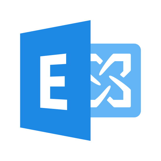 Microsoft Exchange icon. This ia an image of a square with the letter E in the center of it. It also has an connecting image that is another square with a fanned out arrows in all directions on it