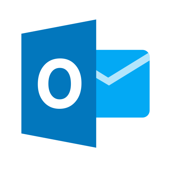 "Microsoft Outlook icon. The icon has three main shapes. A trapezoid with the letter ""O"" in the center is covering the left side of a square that has two diagonal lines that form a downward ""V"" shape inside it. A small circle with an ""L"" shape covers the bottom right corner of the square."