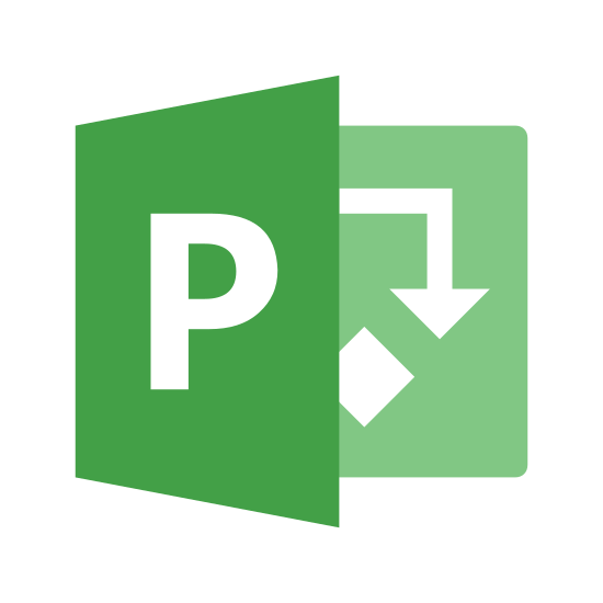Microsoft Project icon. This is a logo for MS Project. It has an uppercase P with a box around with, with a small box hald hidden behind it with two arrows pointing towards one another.