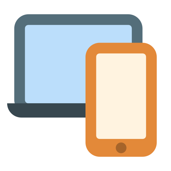 Wiele urządzeń icon. The icon signifies multiple devices. A large screen is in the back, presumably a laptop, is in the back. In front of the laptop, a smartphone is in the right corner and a tablet is placed in the left.