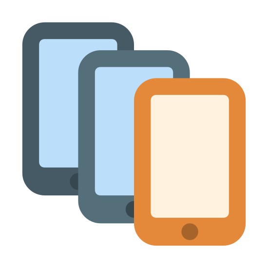Smartphone Multipli icon. It is a drawing of three smart phones with the second placed slightly over the first, and the third placed slightly over the second, creating a cascading appearance. Each smartphone shows a rectangular screen with a single dot below it.
