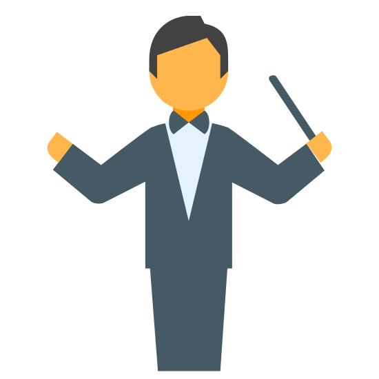 Music Conductor icon. This is a rather complicated icon that looks like a person conducting music. The head is imply a circle, but the body is made up of a polygon with arms raised and baton held upwards. There are no legs, but there is a square used to represent them.