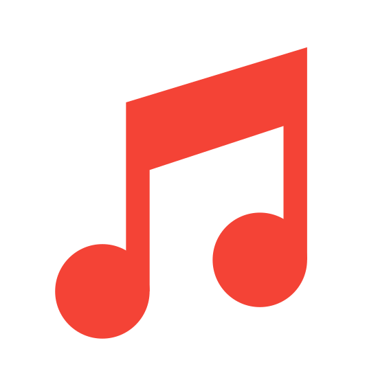 Nuty icon. This is a drawing of a musical note. There are two notes on the drawing and the one on the left is slightly lower than the one on the right side.