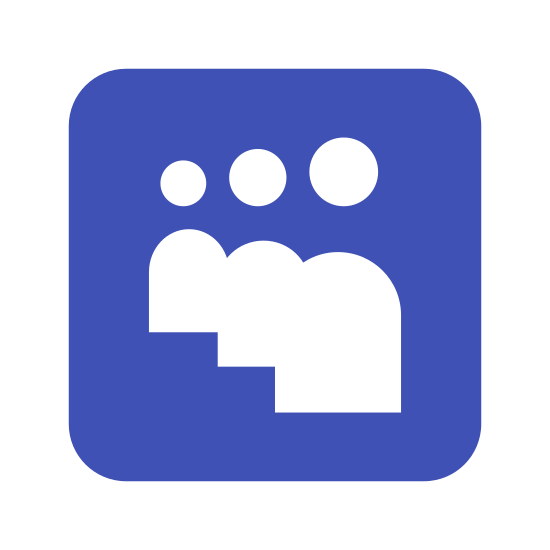 Myspace quadrado icon. Its the logo of Myspace consisting of 3 bodies with heads, no arms, and no faces. The logo is surrounded by a square, with nothing else in it except for the bodies and heads.