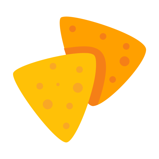 Nachos icon. This is a pair of potato or corn based chips that make a snack. They are peppered with cheese and other flavoring. One of the nachos is laying on top of the other nacho.