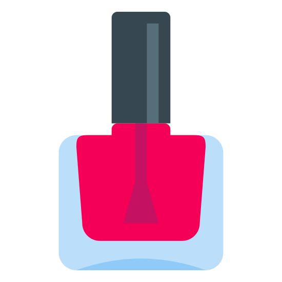 Nail Polish icon. It's a logo of Nail Polish. It is reduced to a small bottle with a brush and a cap on it. Inside of the bottle there is a substance people use to color and design their nails.