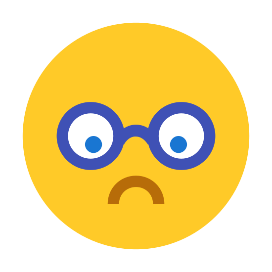 Nerd icon. It's a logo to represent a nerd. It is an emoji face with a curved downward mouth to indicate deep thought or sadness. The face has no nose and glasses with only the frames showing.
