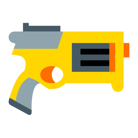 Pistolet NERF icon. This is a picture of a handheld Nerf gun. it has a square shape on it's side with two lines in it. the handle is at the center and bottom, and the handle sticks out to the back a little