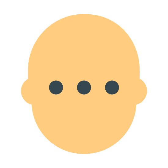 Decyzja neutralna icon. There is an outline shaped like a face. It is an oval with two bumps where ears would be on the side. In the middle of the oval shape, there are three dots spaced apart from each other. The dots are located in the center of the oval.