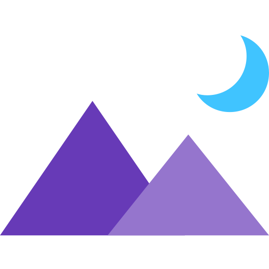 Night Landscape icon. This icon contains two triangles representing mountains. The left triangle is slightly larger and overlaps the one on the right. Above the right triangle there is a crescent moon shape, with the crescent being on the right side.