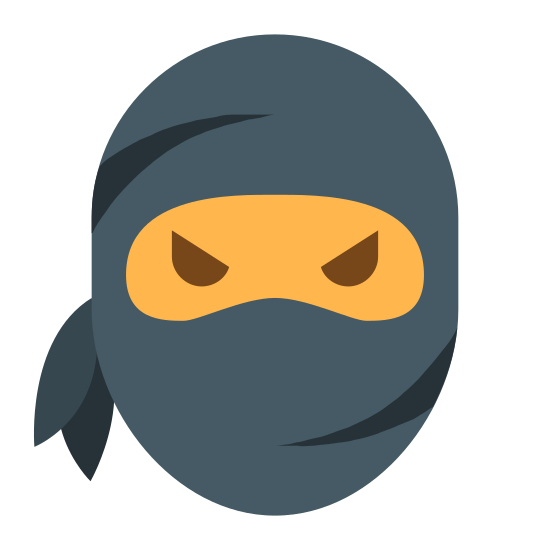 Ninja Head icon. The image is of the head of a person. The person has a cloth on their face that covers most of the face. The eyes and eyebrows of the person are visible. The cloth of the faces ties in the lower left part of the image.