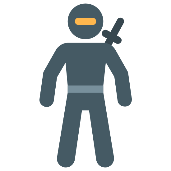 Ninja icon. This icon for Ninja resembles a man with a sword slung over his right shoulder. There is a small circle representing his head, and his two arms are at his sides.