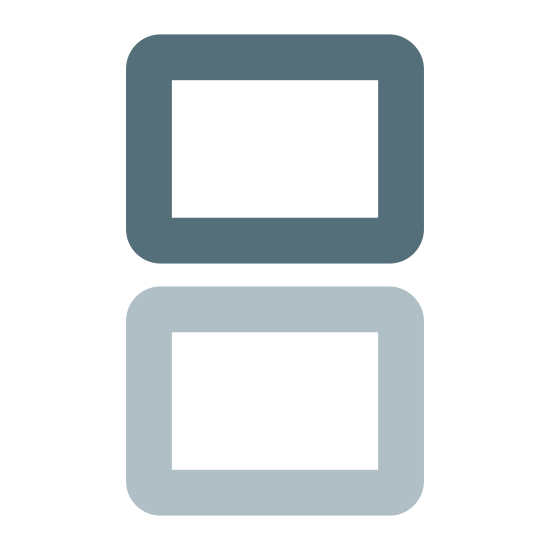 Nintendo DS icon. There is a rectangle. On top of the rectangle, is another rectangle. The two rectangles are not connected to each other and there is a space between them. The rectangles are parallel to each other.