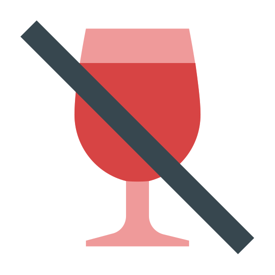 No Alcohol icon. This is a drawing of a wine glass that is most of the way full. Going from top left to bottom right there is a line going across the wine glass probably to say no alcohol is allowed.