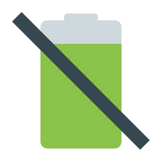 No Battery icon. It is a logo for a dying battery. It is a battery shape but with a line through it stating that it is either low   or that it is dying. It has lines going vertical to display how many bars are left that are still charged.