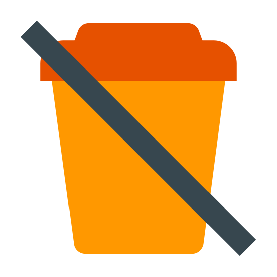 Sem bebidas icon. This icon represents no beverages. The middle of the icon has a cup with a top with an elevated top rounding down into a smaller, slimmer bottom. Through the cup is line drawn from the left top side to the bottom right side.