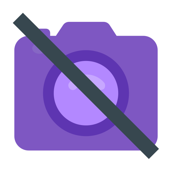 "No Camera icon. An outline of a traditional camera, slashed through diagonally by an unbroken line in the universal symbol for ""no"", or not allowed. Reminiscent of the icon of a camera used on a phone, but struck through."