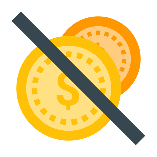 No Cash icon. There is two circles each with the number 1 in them, one circle is larger and one slightly smaller, the larger circle is in front of the smaller circle and about three quarters to the top of the first circle there is a single line going through it diagonally.