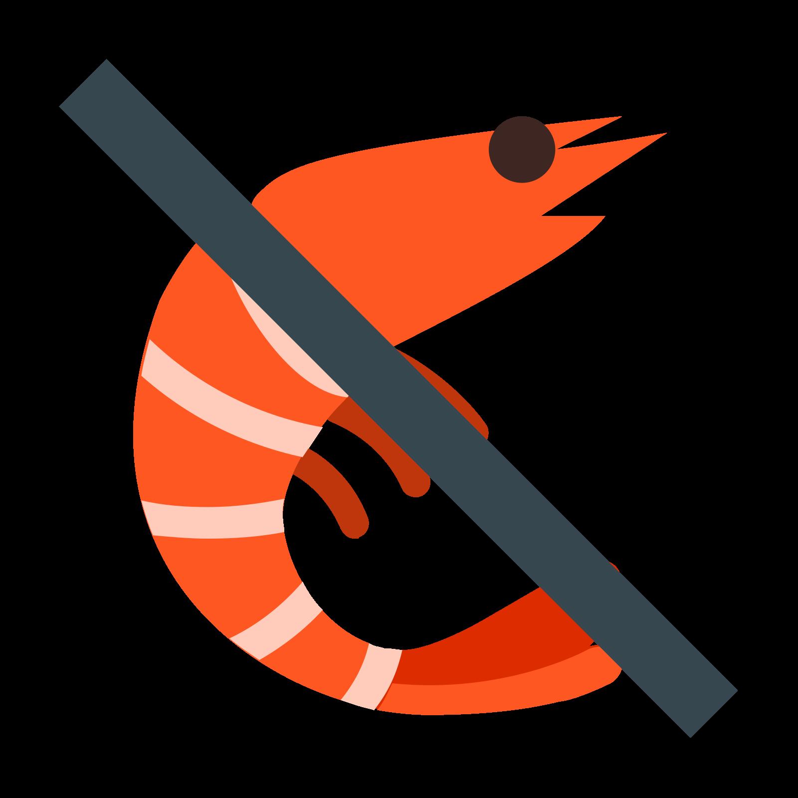 没有甲壳类动物 icon. This icon is depicting a shrimp or some other type of shellfish with a line drawn through it. The shrimp had two legs and three lines drawn across its abdomen.