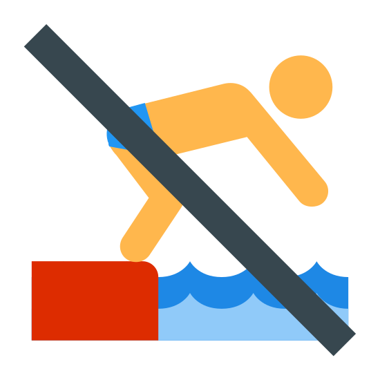 No Diving icon. It is an image of a man standing at the edge of a ledge next to water. He is bent over with his hands out in front of him towards the water. The image has a slash through the man seeming to mean no diving into the water.